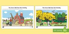 The Farm - Odd One Out Aistear Activity Sheet