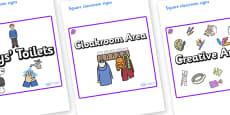 Amethyst Themed Editable Square Classroom Area Signs (Plain)
