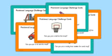 EYFS Positional Language Challenge Cards
