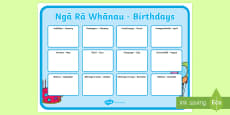 Birthday Large Display Poster Te Reo Maori / English