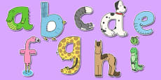 Lower Case Animal Alphabet Display Lettering
