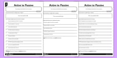 Active to Passive Differentiated Activity Sheet Pack