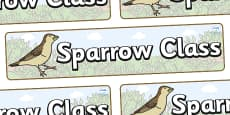 Sparrow Themed Classroom Display Banner