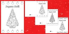 Les sapins de Noël Carte de Noël à colorier