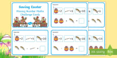 * NEW * Saving Easter Missing Number Maths Challenge Cards
