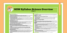 NSW Stage 2 Science Syllabus Overview