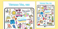 Summer-Themed I Spy with My Little Eye Activity Spanish