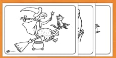 Colouring Sheets to Support Teaching on Room on the Broom