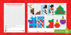 Christmas 100 Square Colour by Number Romanian/English