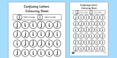 Confusing Letters Colouring Activity Sheets J and I