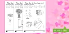 Colorear con números: Día de San Valentín