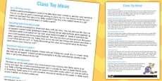 Class Toy Ideas Worksheet