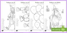 Faschingsbild Plus und Minus bis 10 Arbeitsblatt