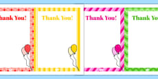 7th Birthday Party Thank You Notes