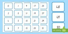 Digit (0-50) Number Cards