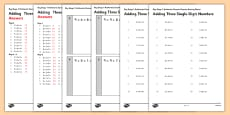 KS1 Arithmetic Practice Activity Sheet Pack Adding 3 Single Digit Numbers