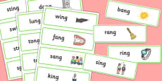 Final 'ng' Sound Word Cards