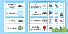 Transport Word Cards Spanish