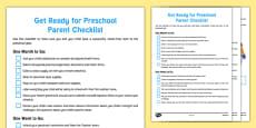 Get Ready for Preschool Parent Checklist USA