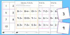 Subtraction Tic Tac Toe Game To Ten