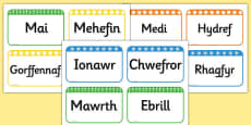 Months of the Year Flashcards Cymraeg