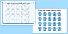 Rugby Strip Number Ordering Activity