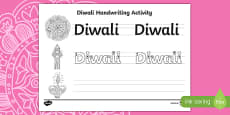 'Diwali' Handwriting Practice Sheet
