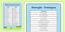Welsh Camping Vocabulary Questions