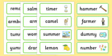 Medial m Word Cards