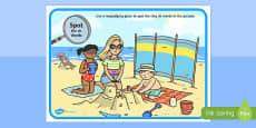 Phase 3 sh Words Beach Scene Magnifying Glass Activity Sheet