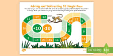 Addition and Subtraction Jungle Race Activity Sheet