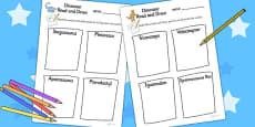 Dinosaur Read and Draw Activity Sheet
