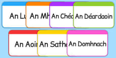 Days of the Week Flashcards Gaeilge