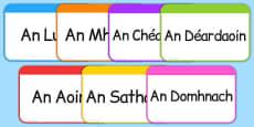 Days of the Week Flashcards Gaeilge