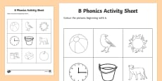 b Phonics Colouring Activity Sheet