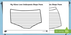 Pants Shape Poetry Writing Frame to Support Teaching on Aliens Love Underpants