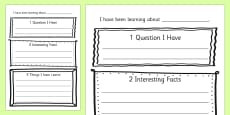 Non Fiction Reading Response Activity Sheets
