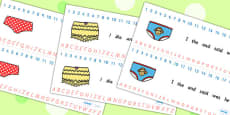 Story Number and Alphabet Strips to Support Teaching on Pants