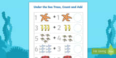 Under the Sea Trace Count and Add Activity Sheet