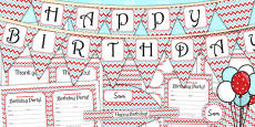 Zig Zag Birthday Party Pack Red And Blue