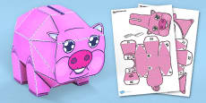 Piggy Bank Paper Toy