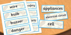 Year 4 Electricity Scientific Vocabulary Cards