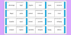 Antonyms with Prefixes Loop Cards