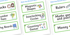 Willow Themed Editable Maths Area Resource Labels