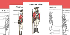 A Red Coat Soldier Poster and Differentiated Activity Sheets
