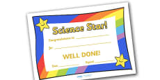 Science Star Award Certificate