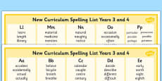 2014 Curriculum Spelling List Years 3 And 4 Column Word Mat