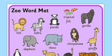 Zoo Word Mat