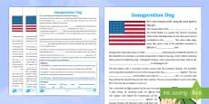 KS2 Inauguration Day Missing Words Differentiated Activity Sheets