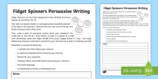 KS2 Fidget Spinners Persuasive Writing Activity Sheet